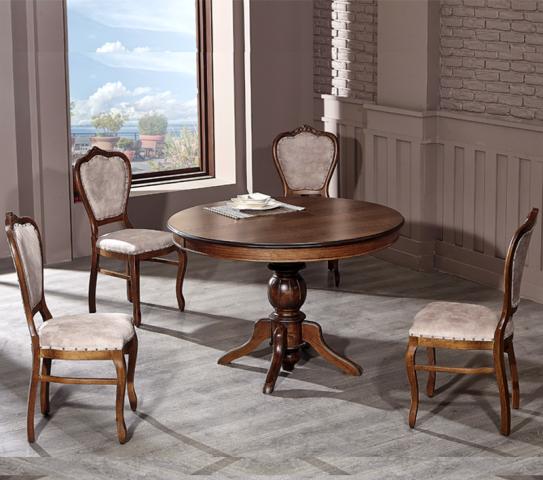 Göbek Ayaklı Masa (120cm) +4 Sandalye